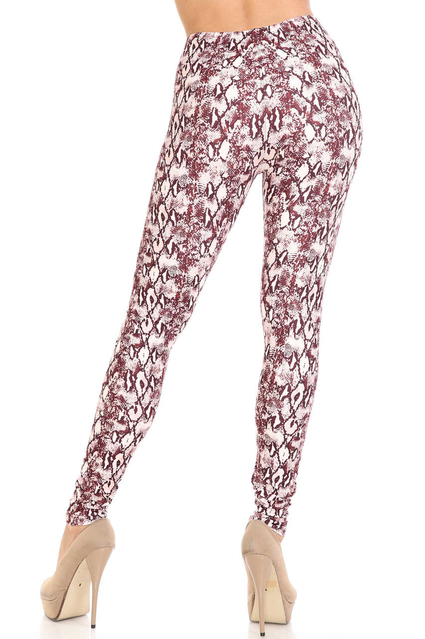 Back side image of Creamy Soft Crimson Snakeskin Plus Size Leggings - USA Fashion™ made with a soft stretch fabric that provides a flattering figure hugging fit.
