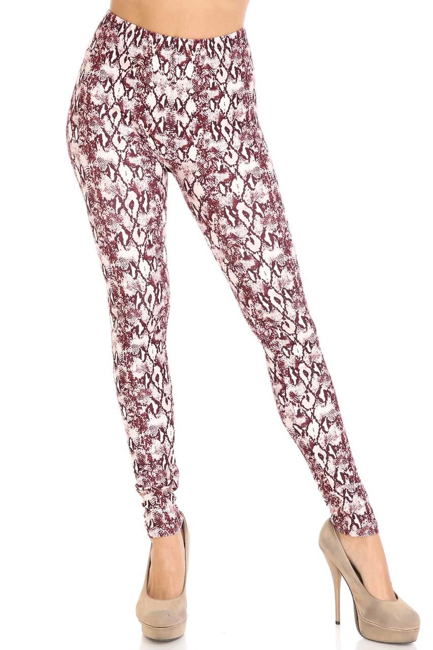 Front of mid rise Creamy Soft Crimson Snakeskin Plus Size Leggings - USA Fashion™ with a mid rise elasticized waist.