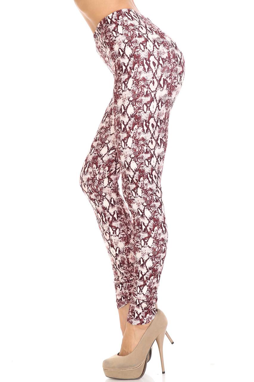 Left side of Creamy Soft Crimson Snakeskin Plus Size Leggings - USA Fashion™