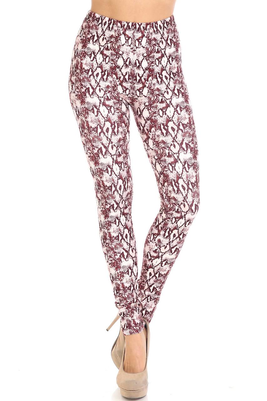 Front side image of Creamy Soft Crimson Snakeskin Plus Size Leggings - USA Fashion™