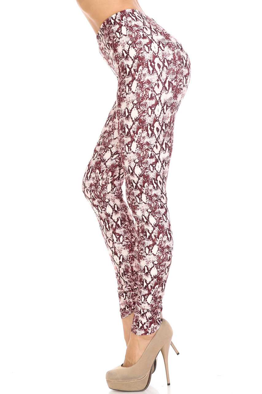Left side of Creamy Soft Crimson Snakeskin Extra Plus Size Leggings - 3X-5X - USA Fashion™