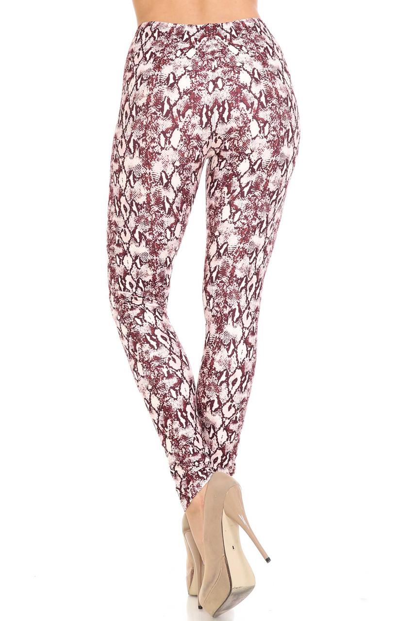 Back side image of Creamy Soft Crimson Snakeskin Extra Plus Size Leggings - 3X-5X - USA Fashion™ with a sassy 360 degree design.