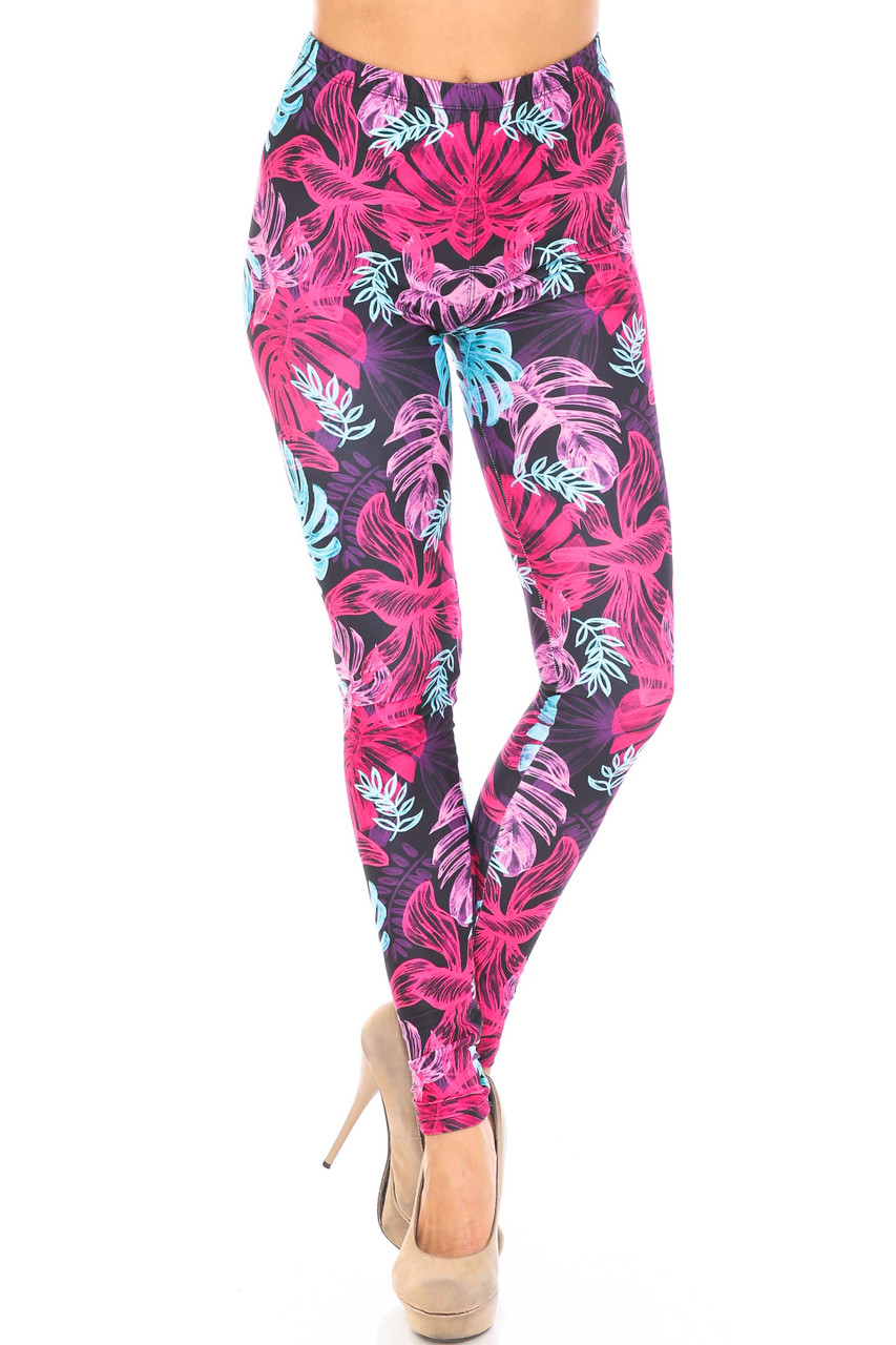 Front side image of Creamy Soft Vivid Tropical Leaves Plus Size Leggings - USA Fashion™ with a full length skinny leg cut.