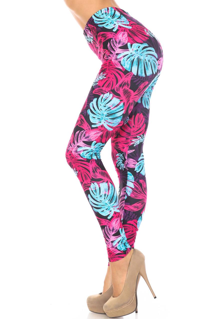 Left side of Creamy Soft Vivid Tropical Leaves Plus Size Leggings - USA Fashion™
