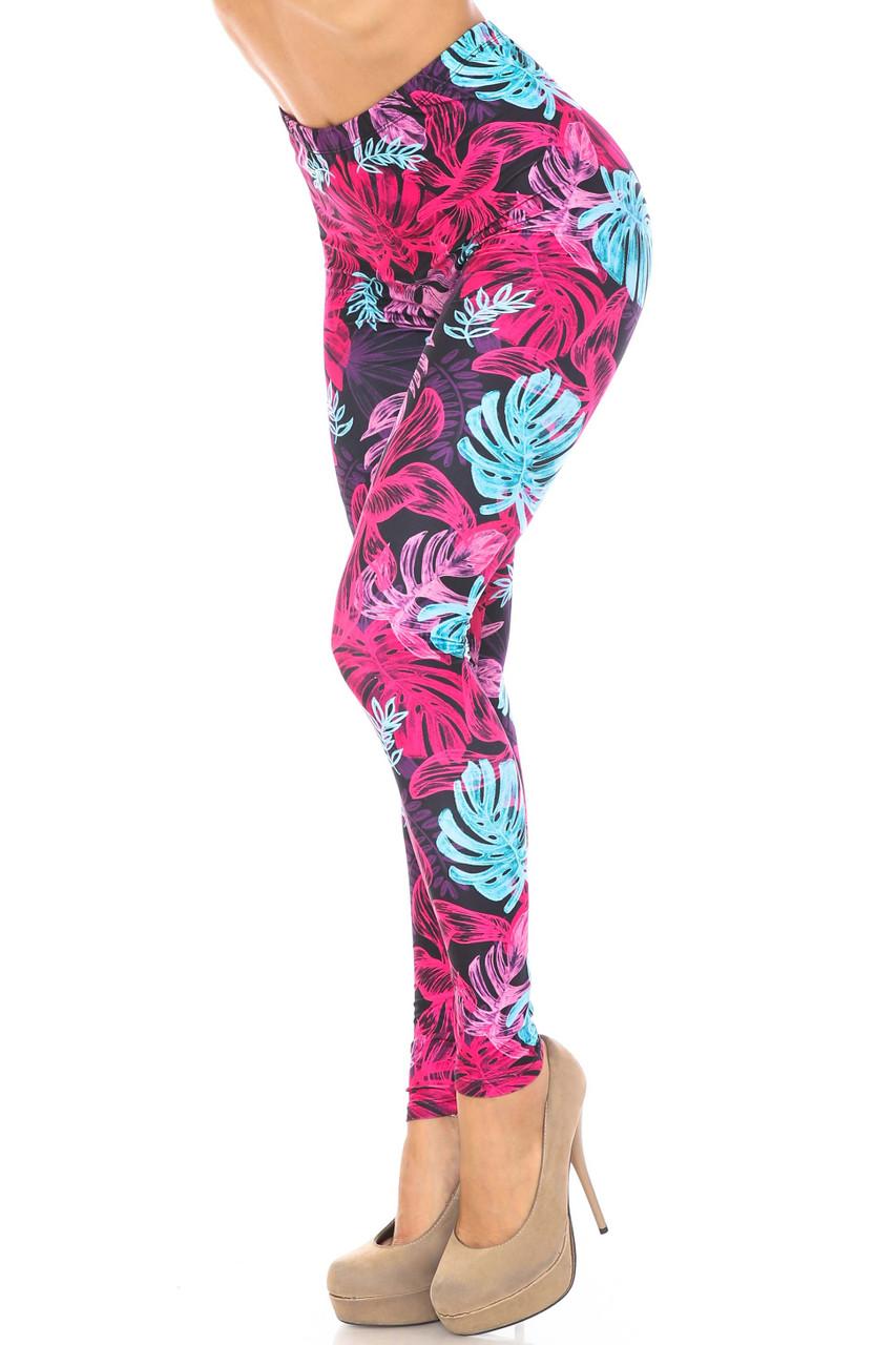 Left view of Creamy Soft Vivid Tropical Leaves Plus Size Leggings - USA Fashion™