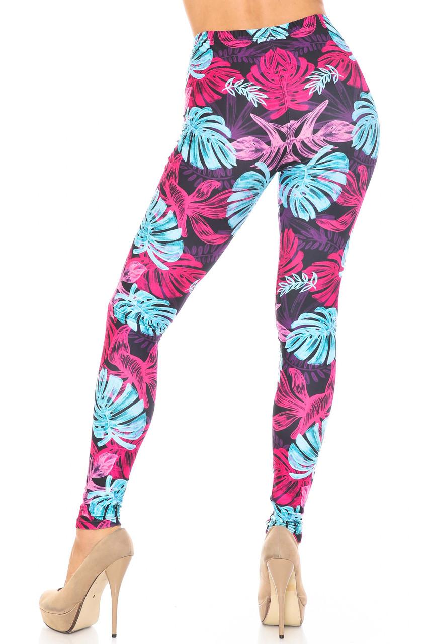 Rear view image of Wholesale Creamy Soft Vivid Tropical Leaves Plus Size Leggings - USA Fashion™