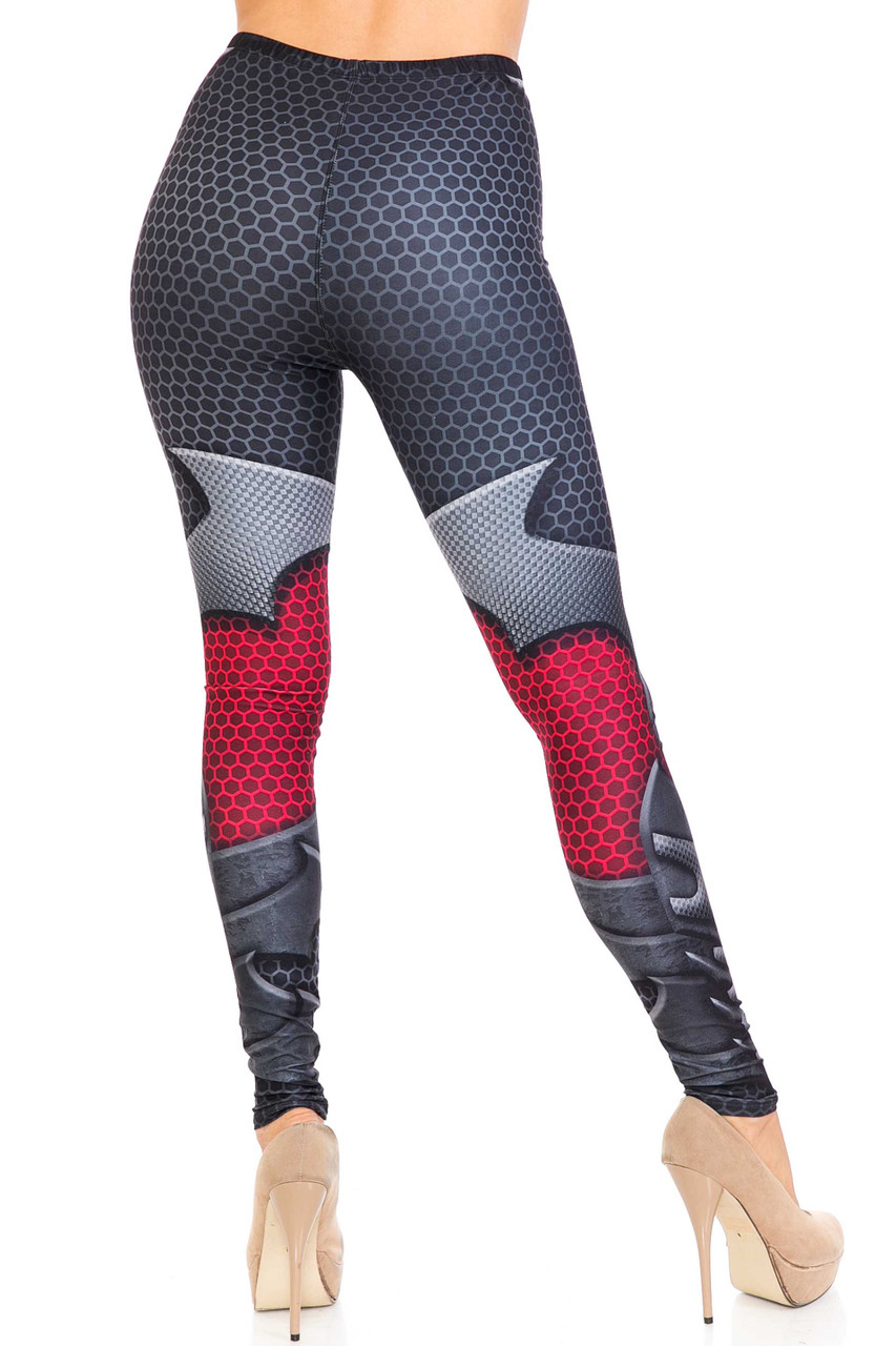 Back side image of Creamy Soft Pretty Avenger Extra Plus Size Leggings - 3X-5X - USA Fashion™ showing the wrap around armored and honeycomb design