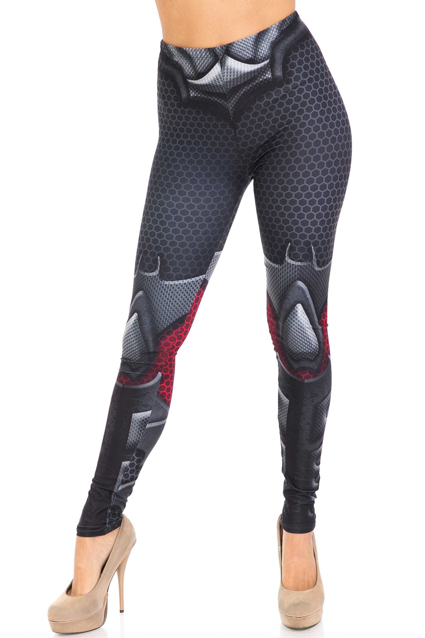 Front of mid rise Creamy Soft Pretty Avenger Extra Plus Size Leggings - 3X-5X - USA Fashion™ with a fabulous superhero inspired look.