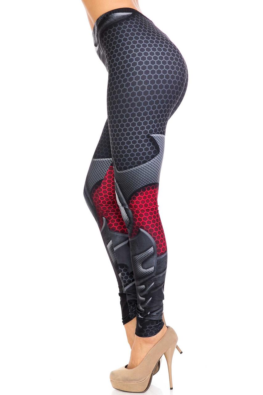 Left side of Creamy Soft Pretty Avenger Extra Plus Size Leggings - 3X-5X - USA Fashion™