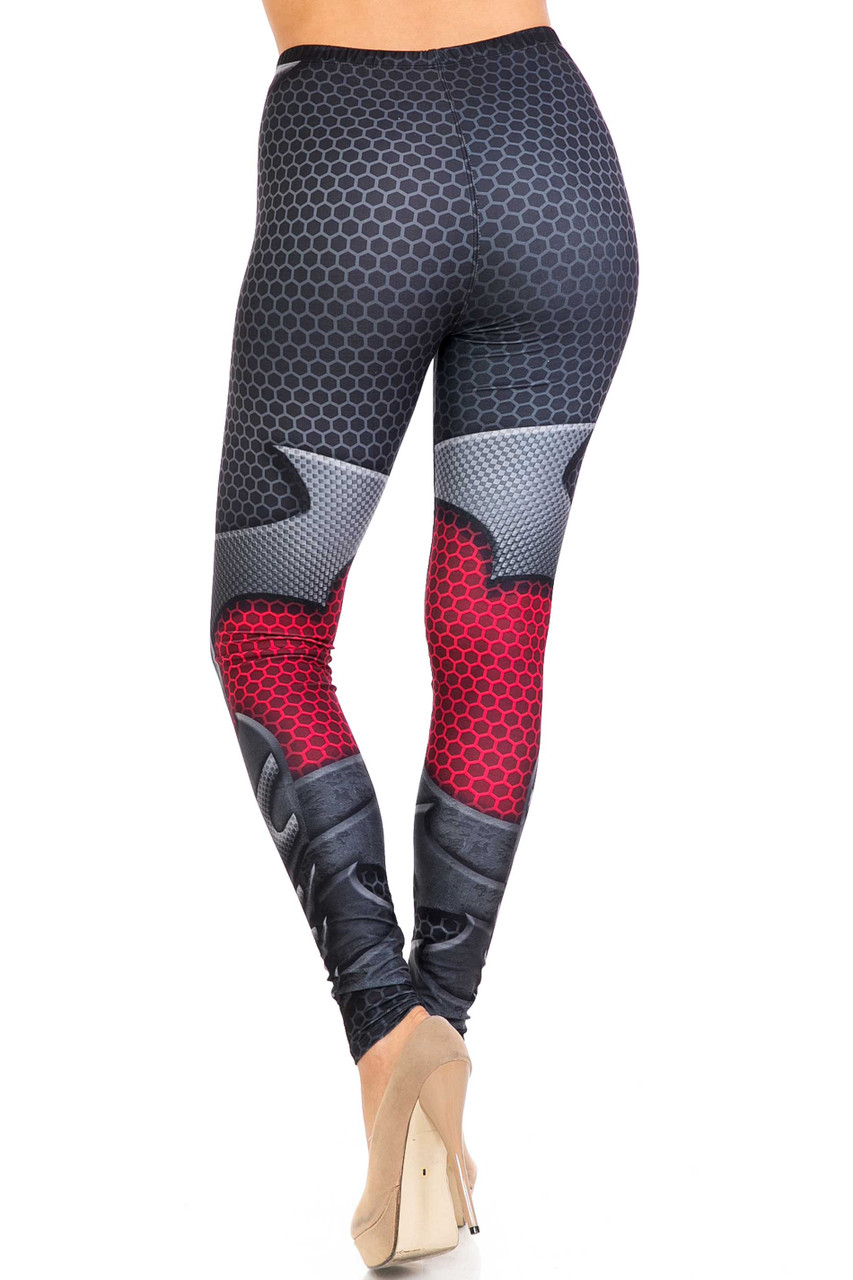 Rear view of Creamy Soft Pretty Avenger Extra Plus Size Leggings - 3X-5X - USA Fashion™ with a figure flattering body-hugging fit.