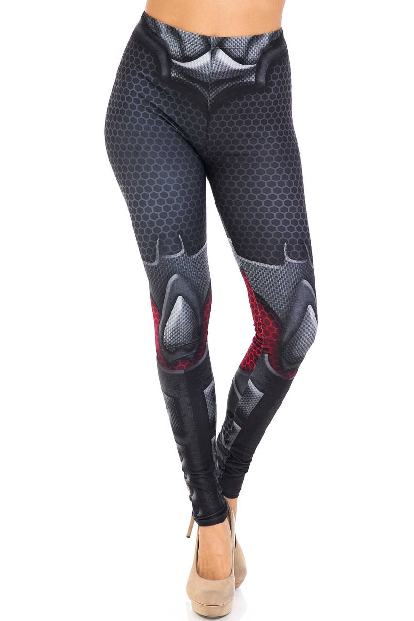Front side image of Creamy Soft Pretty Avenger Extra Plus Size Leggings - 3X-5X - USA Fashion™ with a skinny leg cut and mid rise comfort elastic stretch waist.