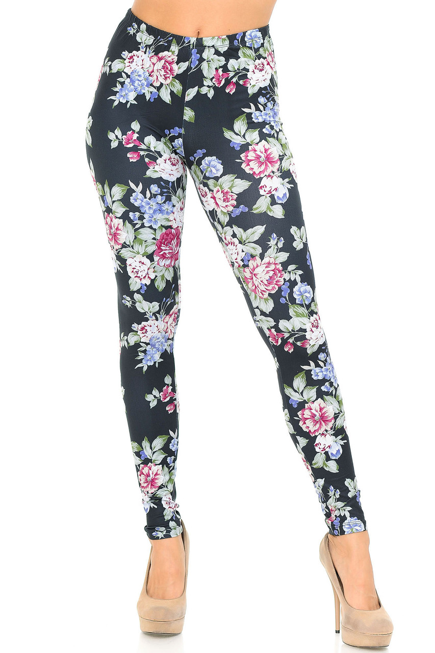 Front side view of Creamy Soft Delightful Rose Leggings - USA Fashion™ with an elasticized waist that comes up to about mid rise.