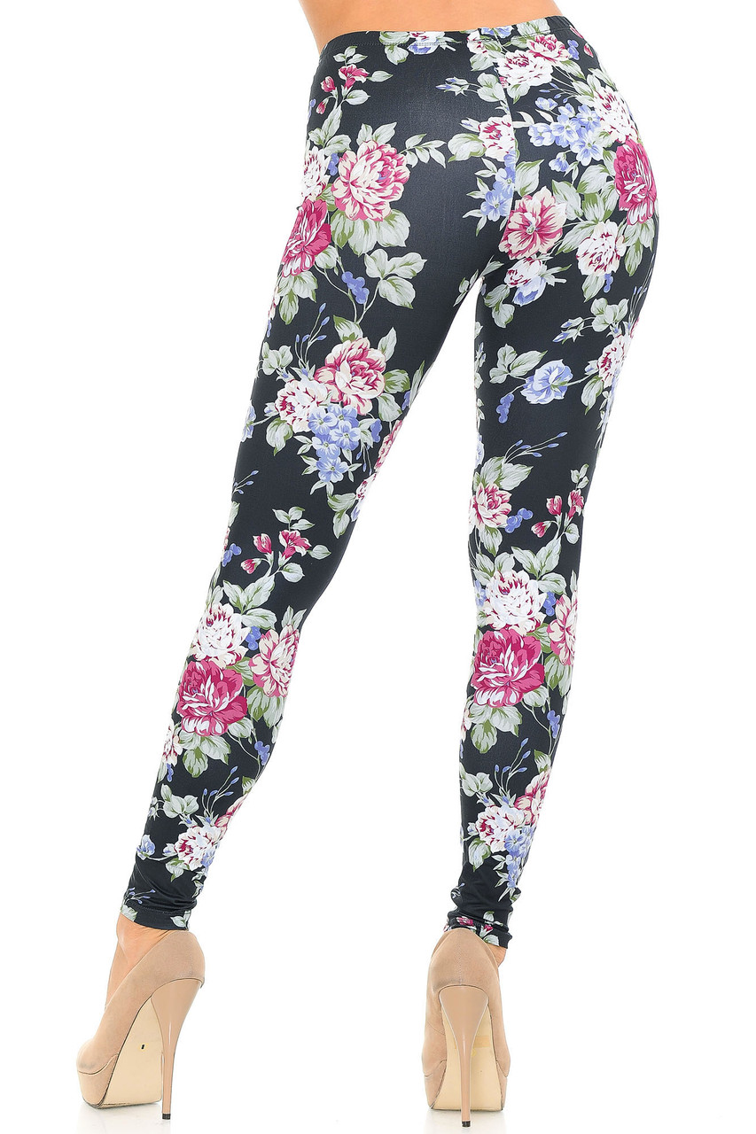 Back side view of full length Creamy Soft Delightful Rose Extra Plus Size Leggings - 3X-5X - USA Fashion™