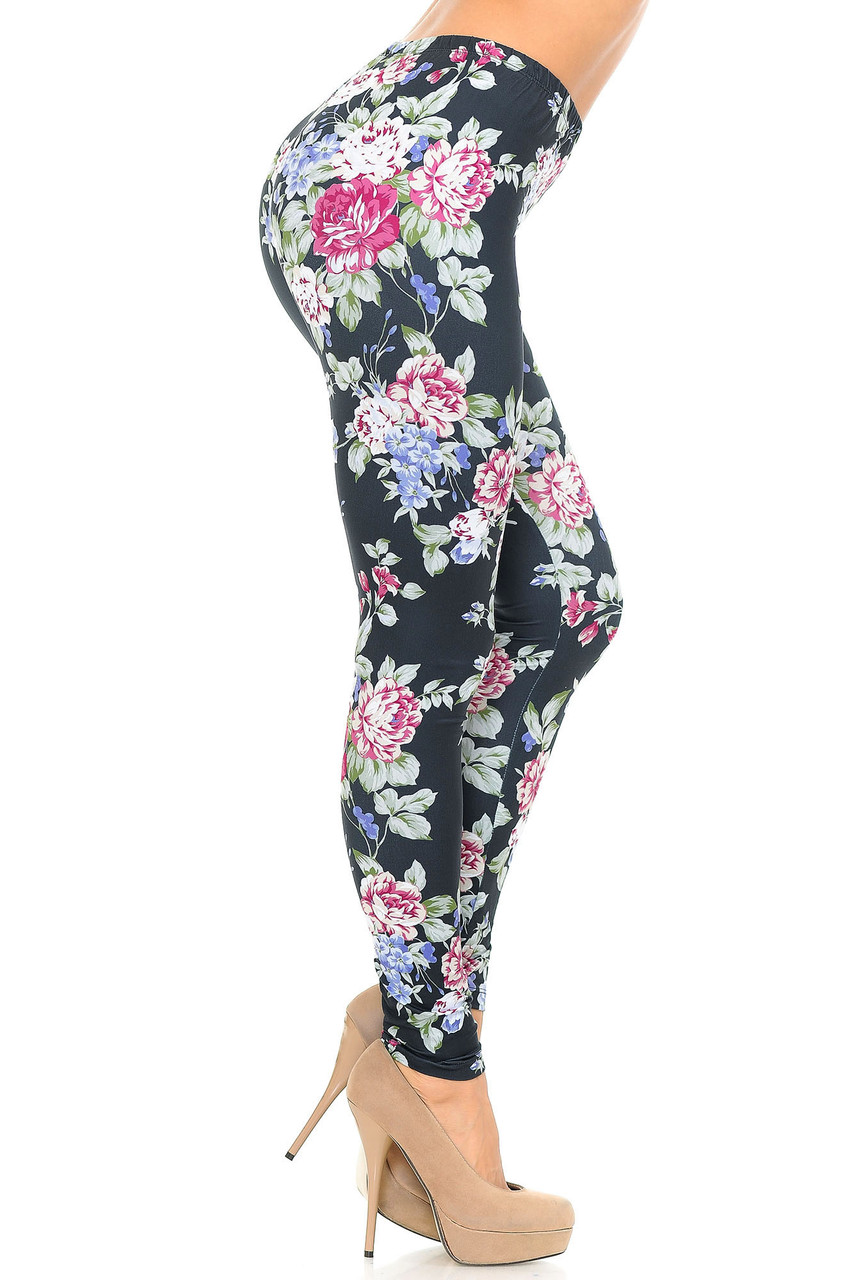 Right side of Creamy Soft Delightful Rose Extra Plus Size Leggings - 3X-5X - USA Fashion™