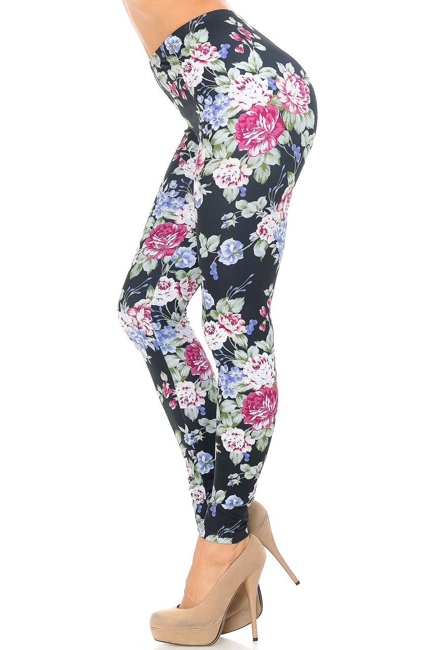 Left side of Creamy Soft Delightful Rose Extra Plus Size Leggings - 3X-5X - USA Fashion™