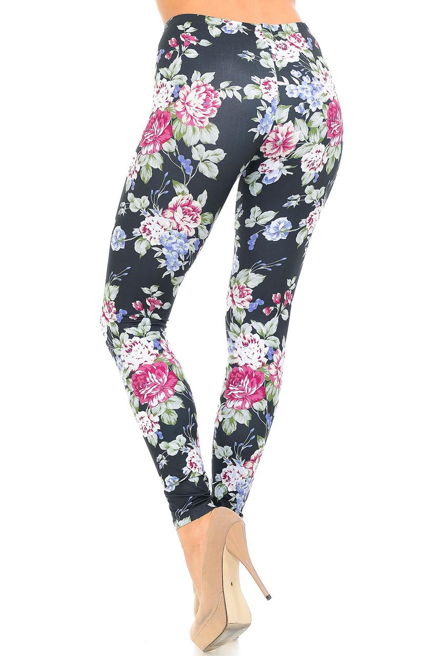 Back side image of Creamy Soft Delightful Rose Extra Plus Size Leggings - 3X-5X - USA Fashion™