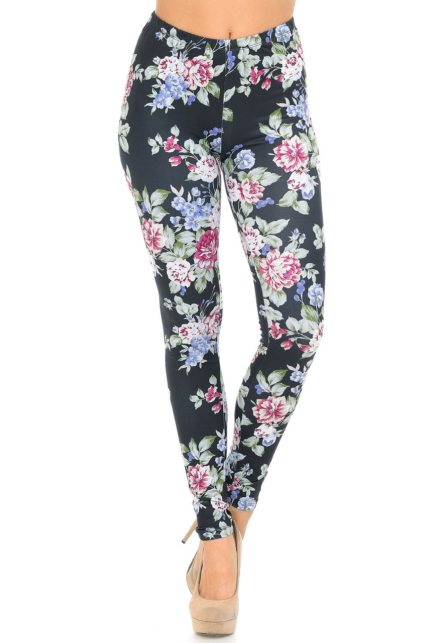 Front side image of Creamy Soft Delightful Rose Extra Plus Size Leggings - 3X-5X - USA Fashion™ with a flattering skinny fit.