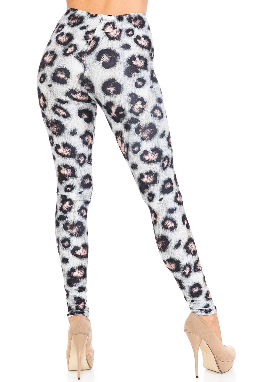 Rear view image of Creamy Soft Moda Leopard Plus Size Leggings - USA Fashion™ with a body hugging figure flattering fit.