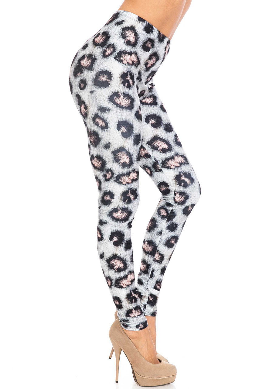 Right side of Creamy Soft Moda Leopard Extra Plus Size Leggings - 3X-5X - USA Fashion™