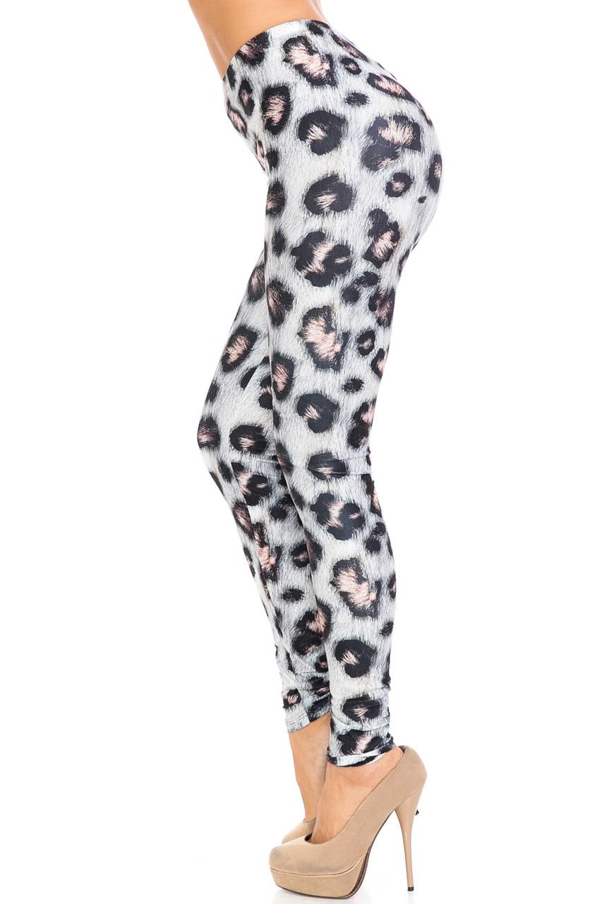 Left side of Creamy Soft Moda Leopard Extra Plus Size Leggings - 3X-5X - USA Fashion™