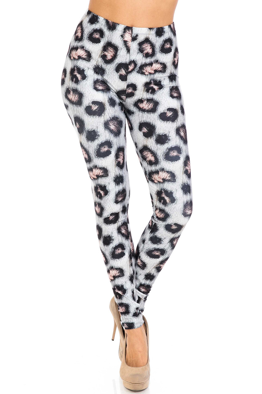 Front side of Creamy Soft Moda Leopard Extra Plus Size Leggings - 3X-5X - USA Fashion™ with a full length skinny leg cut.