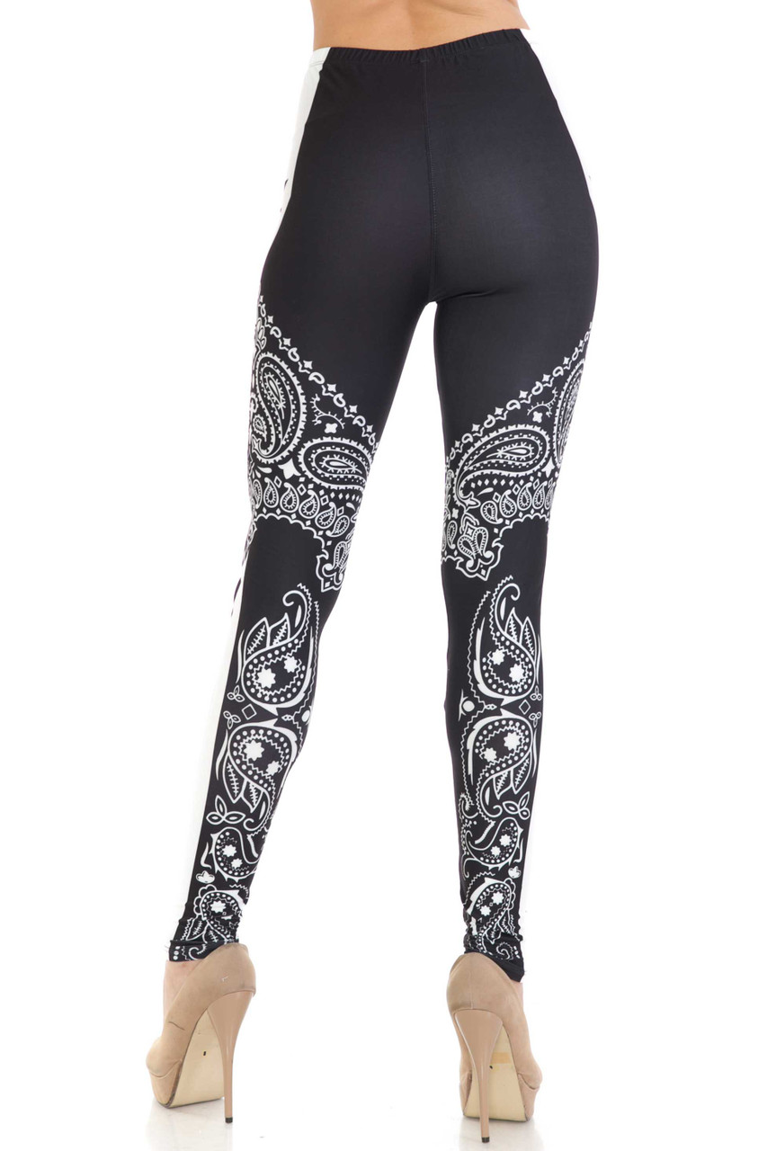 Back side view of Creamy Soft Bandana Stars Extra Plus Size Leggings - 3X-5X - USA Fashion™ showing off the flattering body hugging fit.
