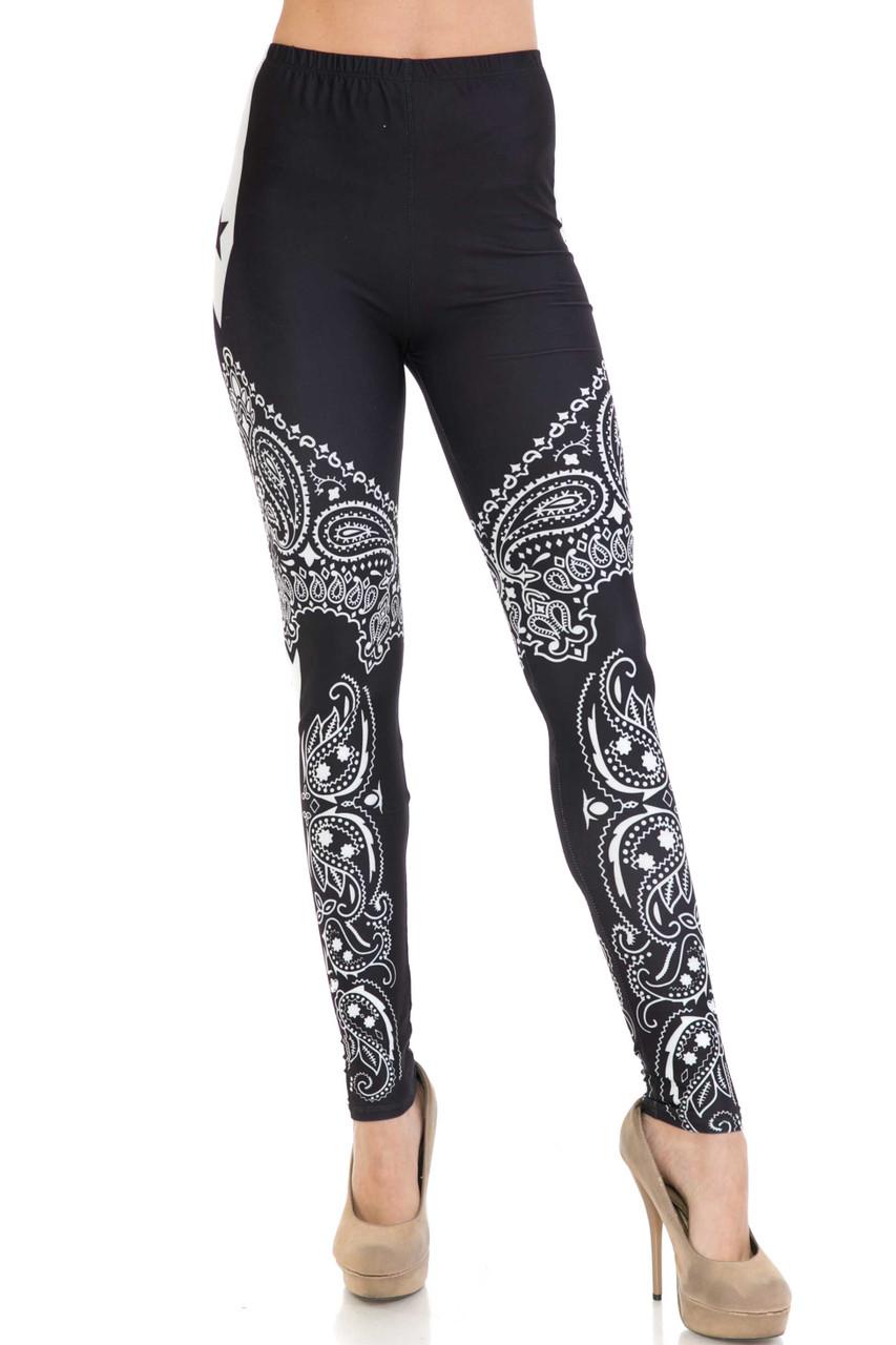 Front side image of Creamy Soft Bandana Stars Extra Plus Size Leggings - 3X-5X - USA Fashion™