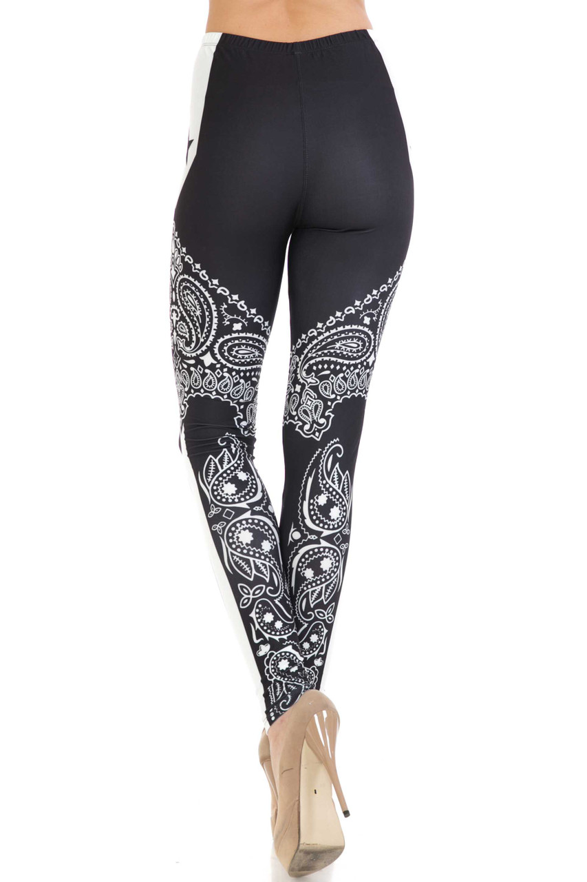 Rear view of Creamy Soft Bandana Stars Extra Plus Size Leggings - 3X-5X - USA Fashion™ showing the continued print.