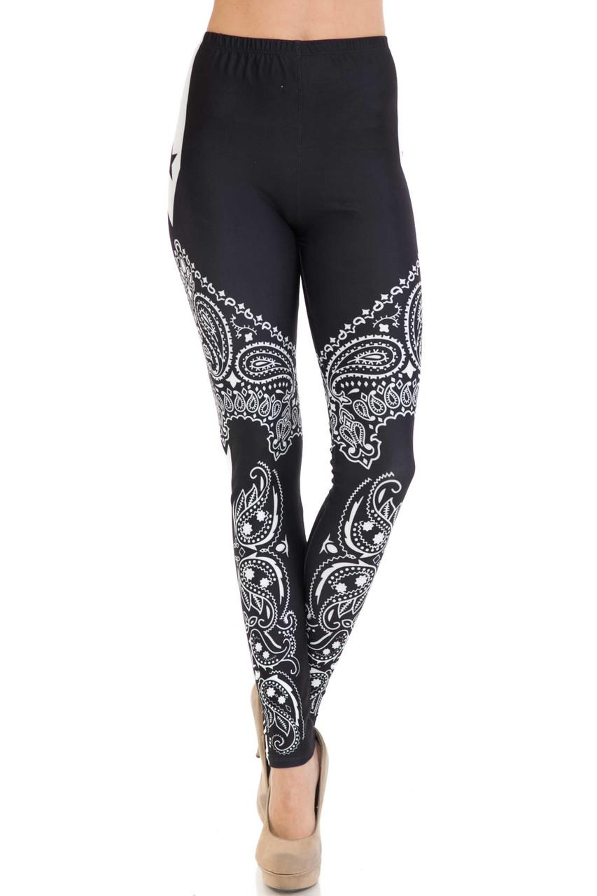Front of mid rise full length Creamy Soft Bandana Stars Extra Plus Size Leggings - 3X-5X - USA Fashion™