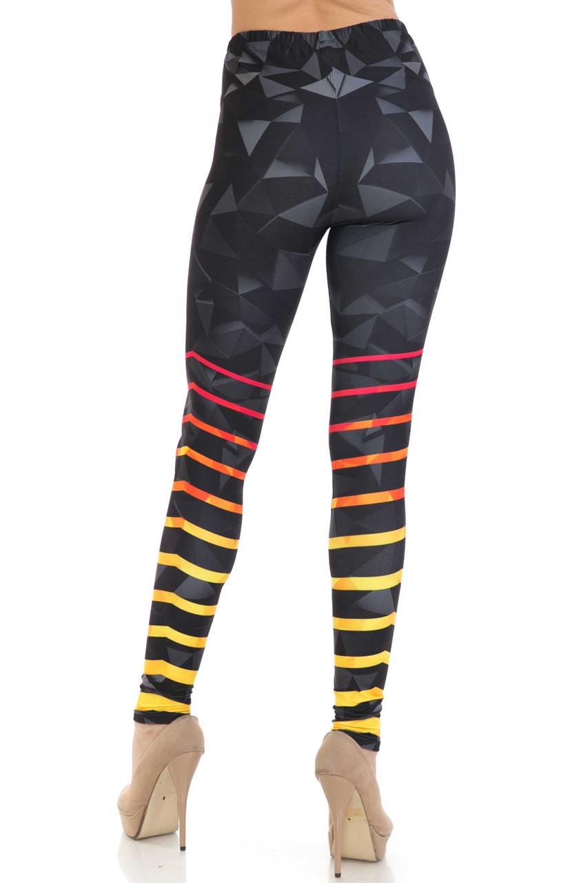 Back side image of Creamy Soft 3D Harmonic Angles Leggings - USA Fashion™