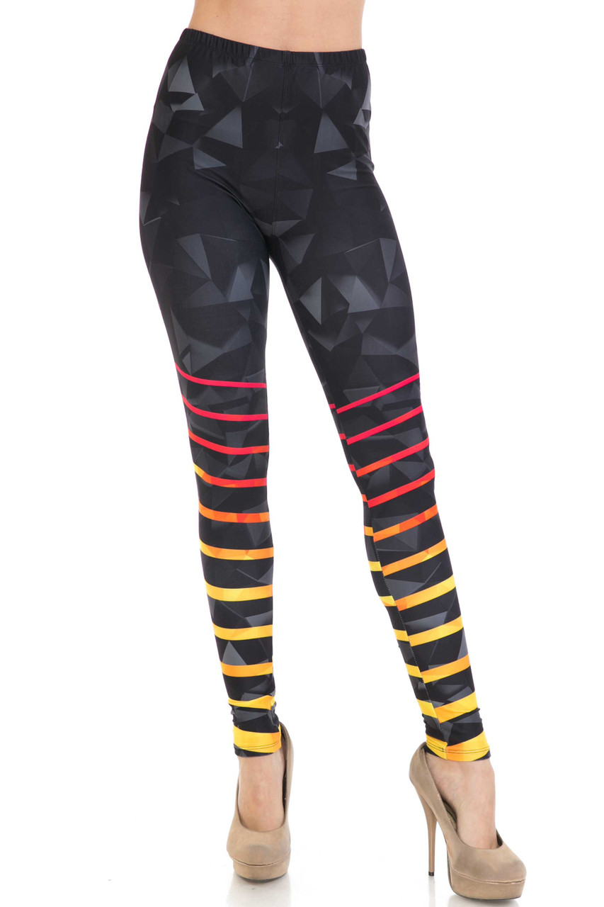 Front side image of Creamy Soft 3D Harmonic Angles Leggings - USA Fashion™