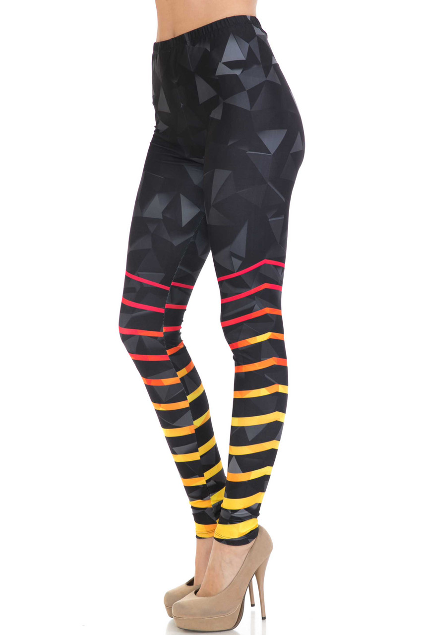 Left side view of Creamy Soft 3D Harmonic Angles Extra Plus Size Leggings - 3X-5X - USA Fashion™