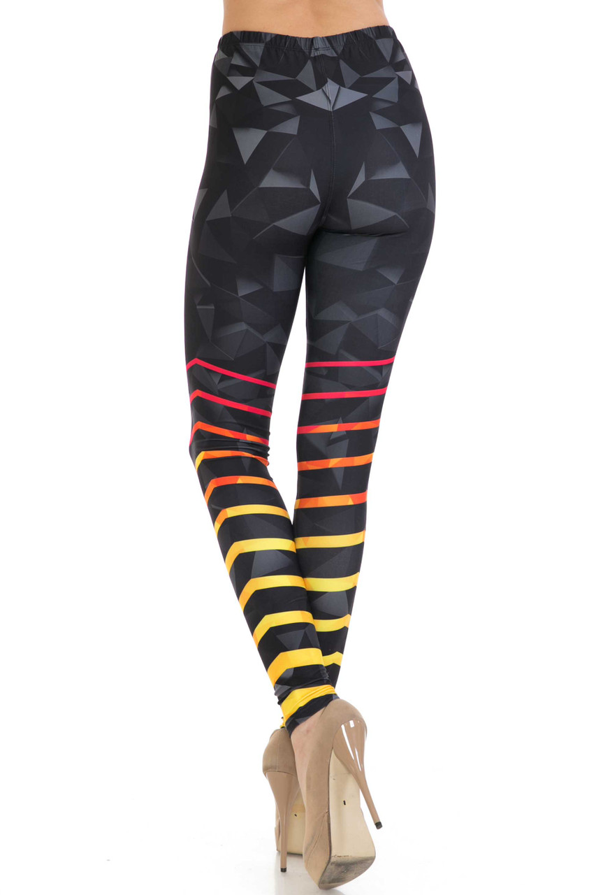 Back side image of Creamy Soft 3D Harmonic Angles Extra Plus Size Leggings - 3X-5X - USA Fashion™