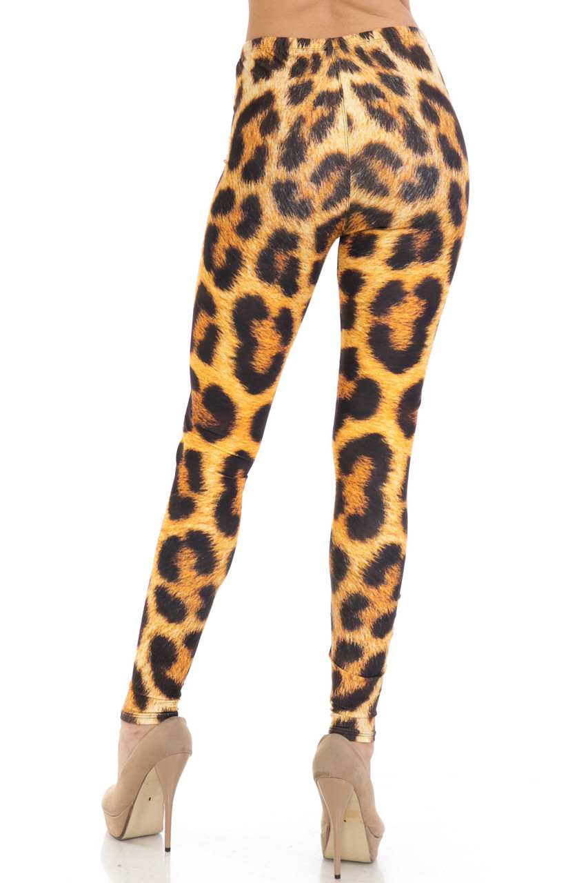 Back of Creamy Soft Spotted Panther Leggings - USA Fashion™ showing off a flattering skinny leg fit.