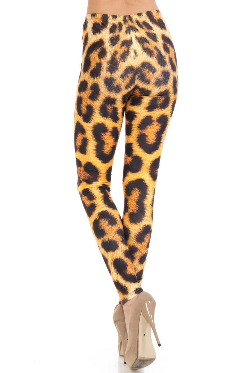 Back of Creamy Soft Spotted Panther Plus Size Leggings - USA Fashion™ showing continued all over design.