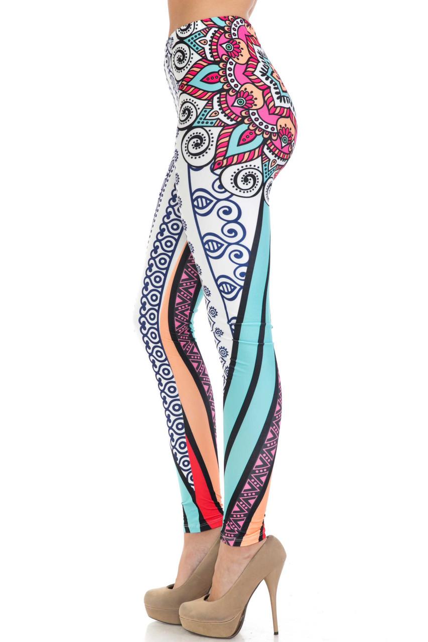 Left side of Creamy Soft Sexy Vertical Contouring Mandala Extra Plus Size Leggings - 3X-5X - USA Fashion™