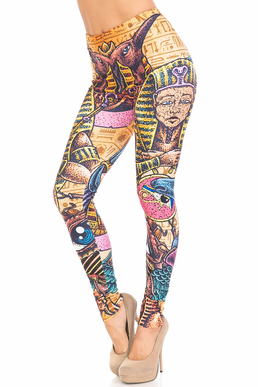 45 degree view of Creamy Soft Gods of Egypt Plus Size Leggings - USA Fashion™