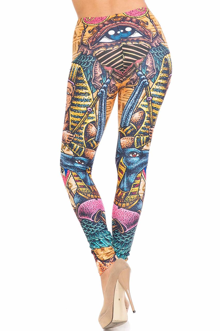 Back of Creamy Soft Gods of Egypt Plus Size Leggings - USA Fashion™