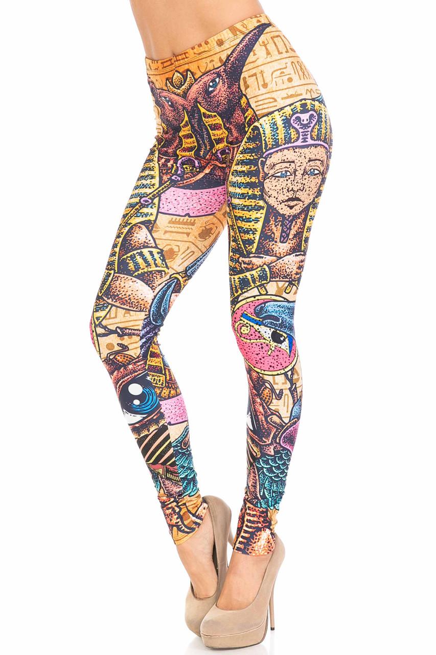 45 degree view of Creamy Soft Gods of Egypt Extra Plus Size Leggings - 3X-5X - USA Fashion™