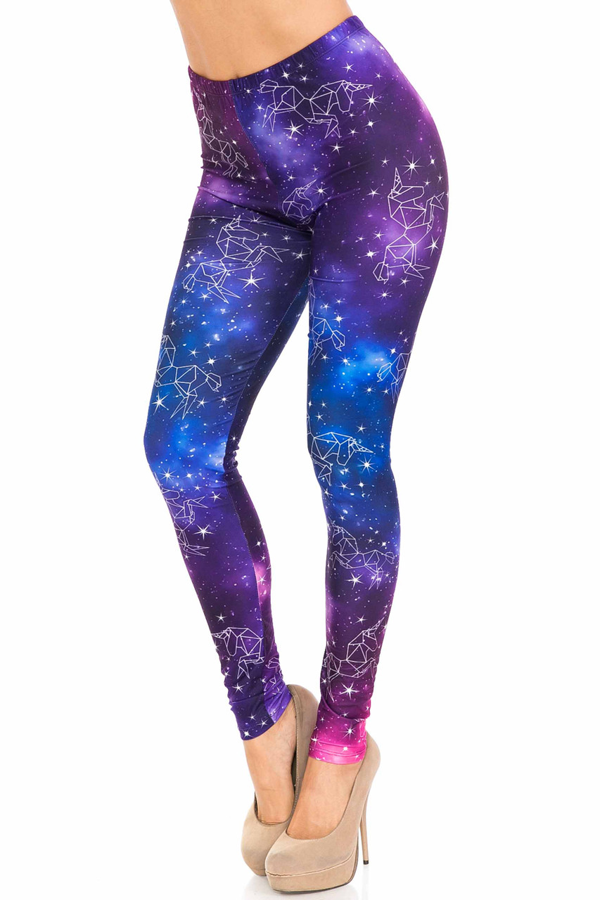 45 degree view of Creamy Soft Unicorn Galaxy Leggings - USA Fashion™ with a magical purple, blue, and fuchsia galactic look with unicorn constellations