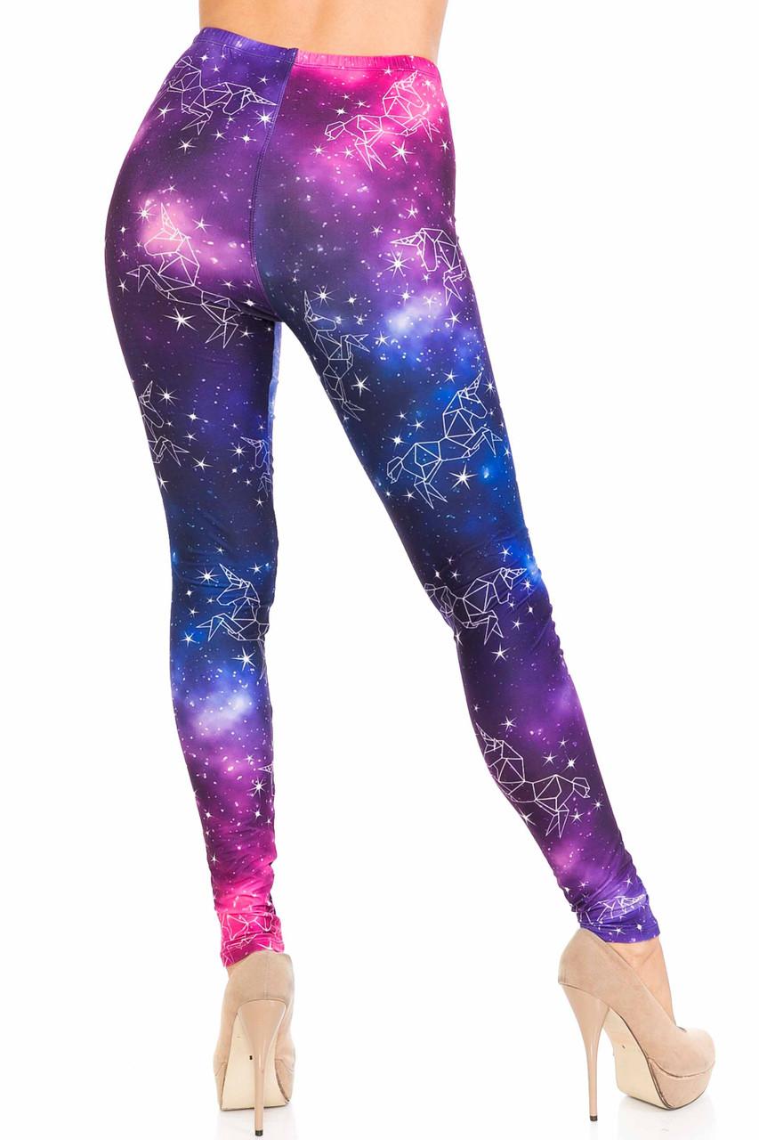 Back of full length Creamy Soft Unicorn Galaxy Leggings - USA Fashion™ with a skinny leg fit.