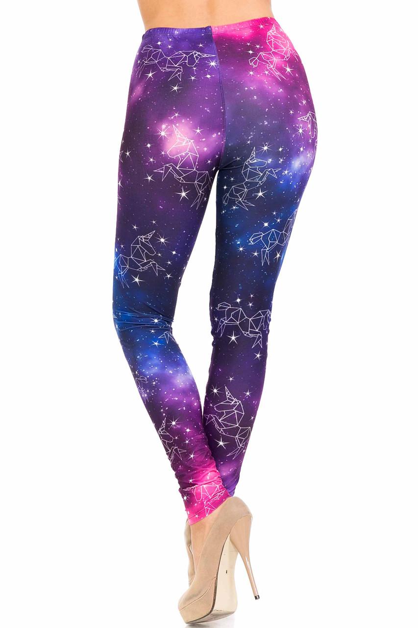 Rear view of Creamy Soft Unicorn Galaxy Leggings - USA Fashion™
