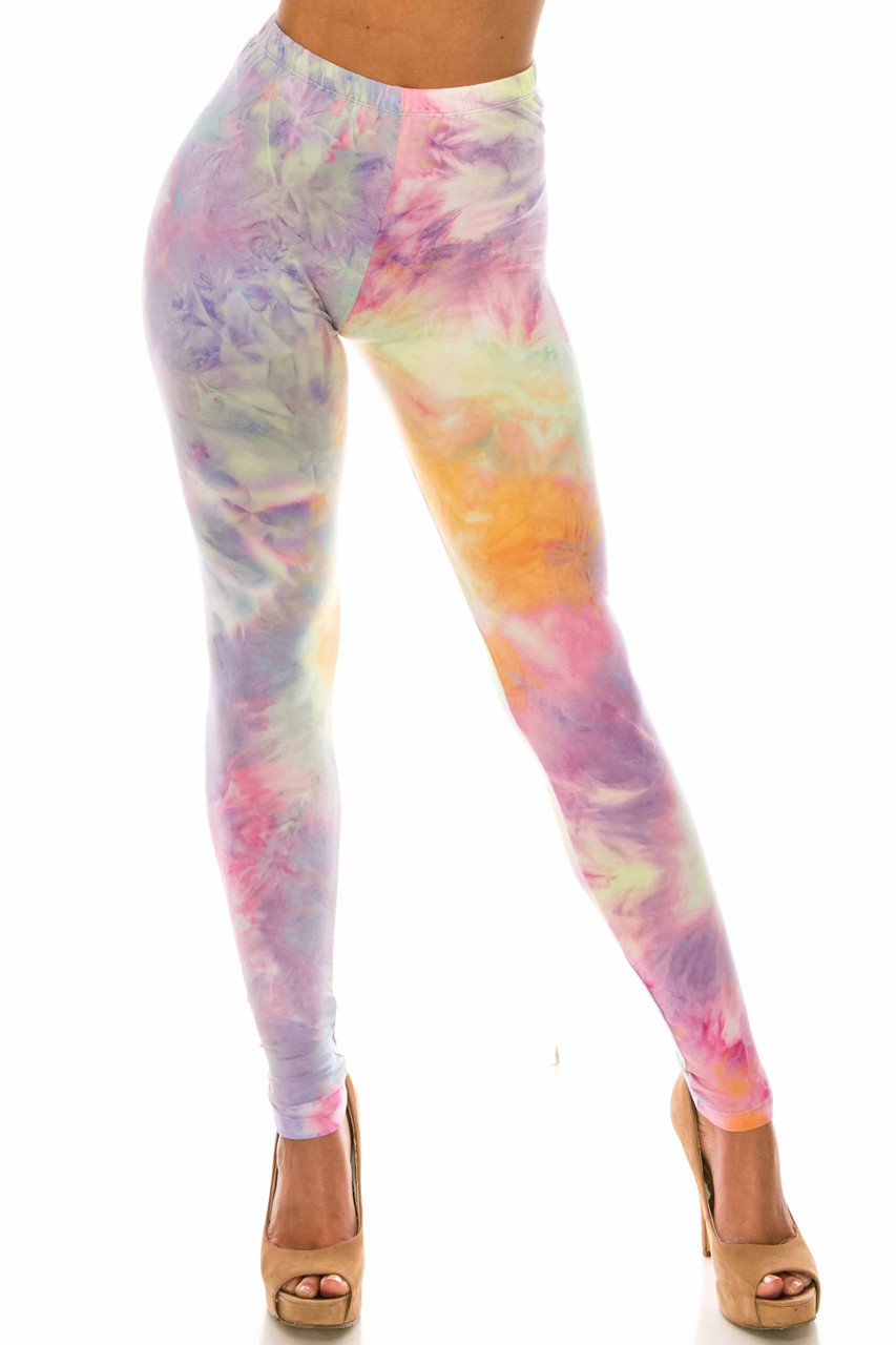 Front of Buttery Soft Multi-Color Pastel Tie Dye Plus Size Leggings with a gorgeous soft and colorful design.