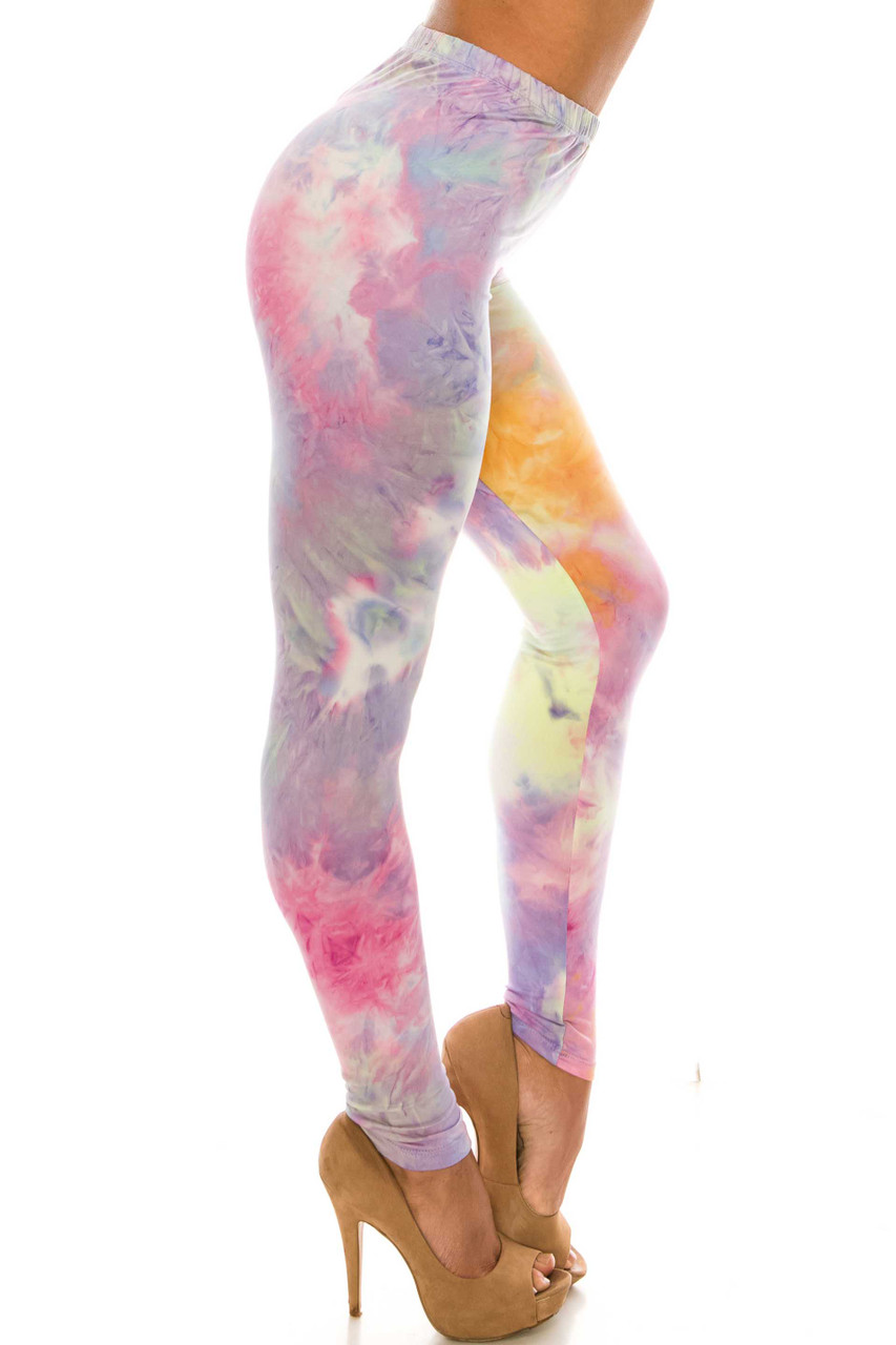 Right side of Buttery Soft Multi-Color Pastel Tie Dye Plus Size Leggings