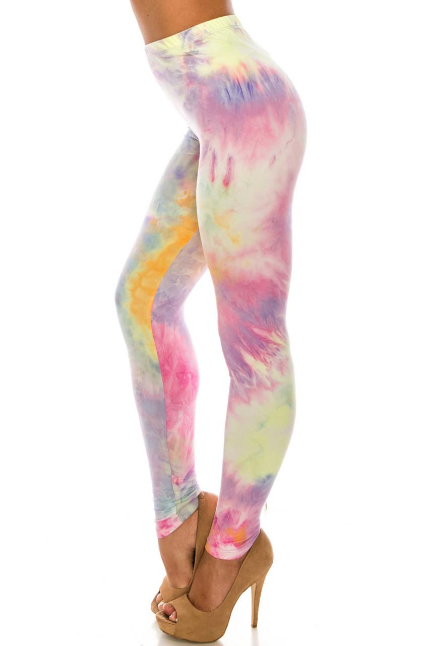 Left side of Buttery Soft Multi-Color Pastel Tie Dye Plus Size Leggings