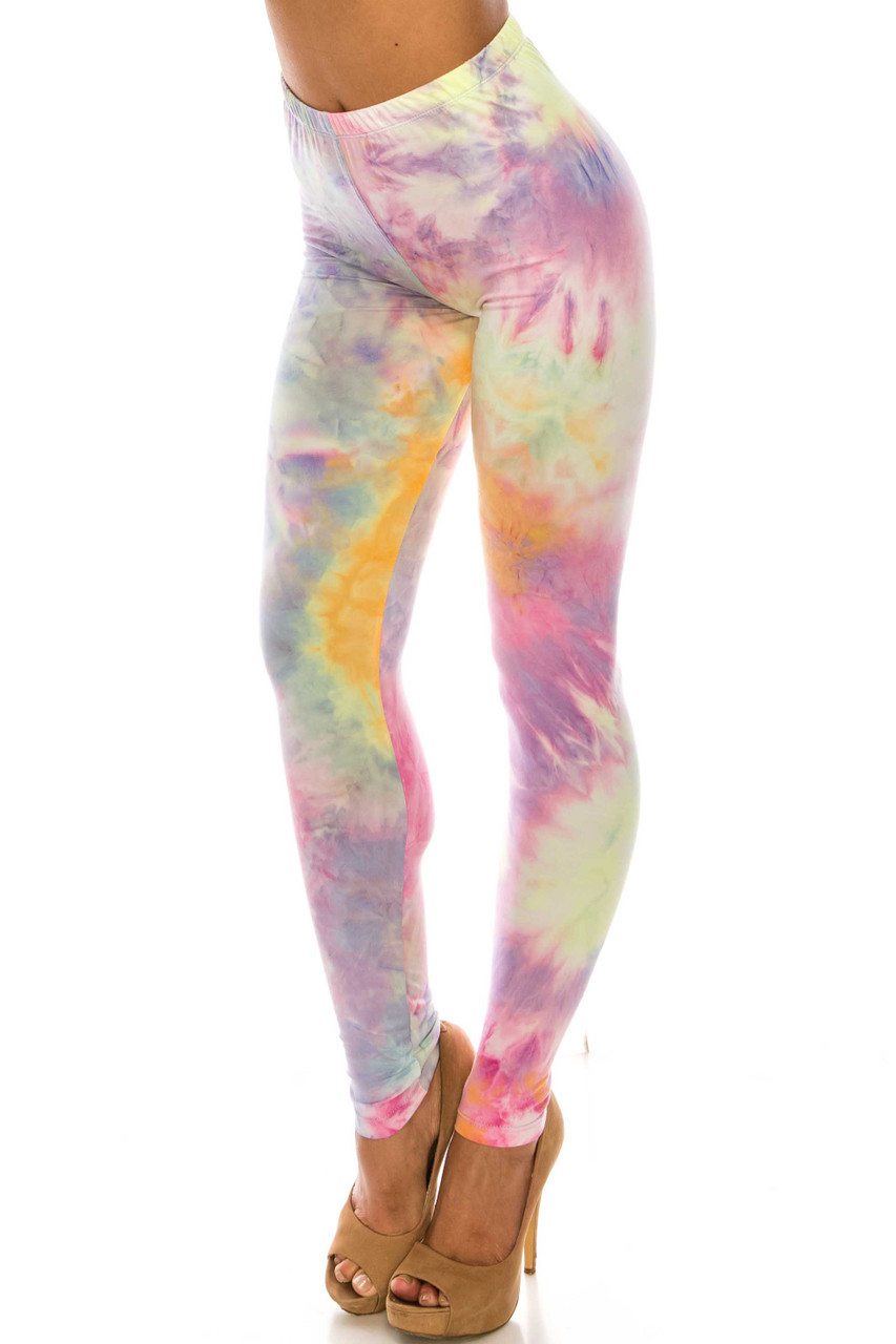 45 degree view of Buttery Soft Multi-Color Pastel Tie Dye Plus Size Leggings
