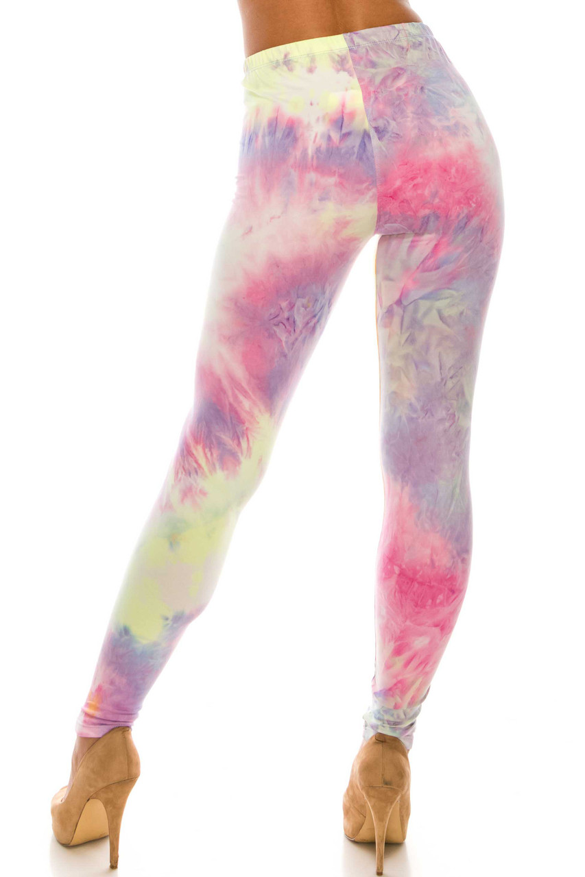 Back of our figure flattering Buttery Soft Multi-Color Pastel Tie Dye Extra Plus Size Leggings - 3X-5X