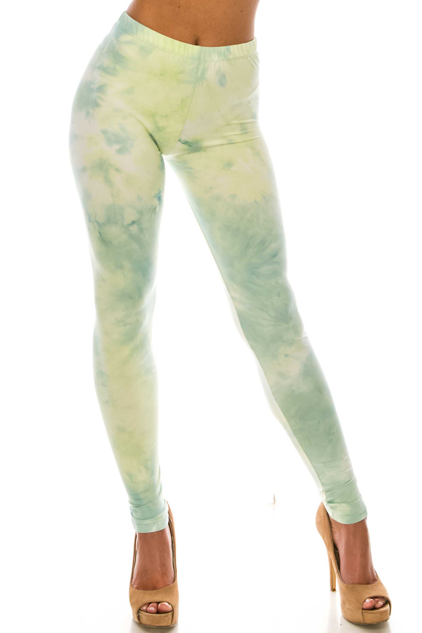 Front of Buttery Soft Mint Tie Dye Leggings with a soft pastel green dyed design.
