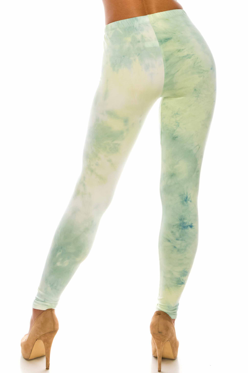 Rear view of Buttery Soft Mint Tie Dye Extra Plus Size Leggings with a figure flattering skinny leg fit.