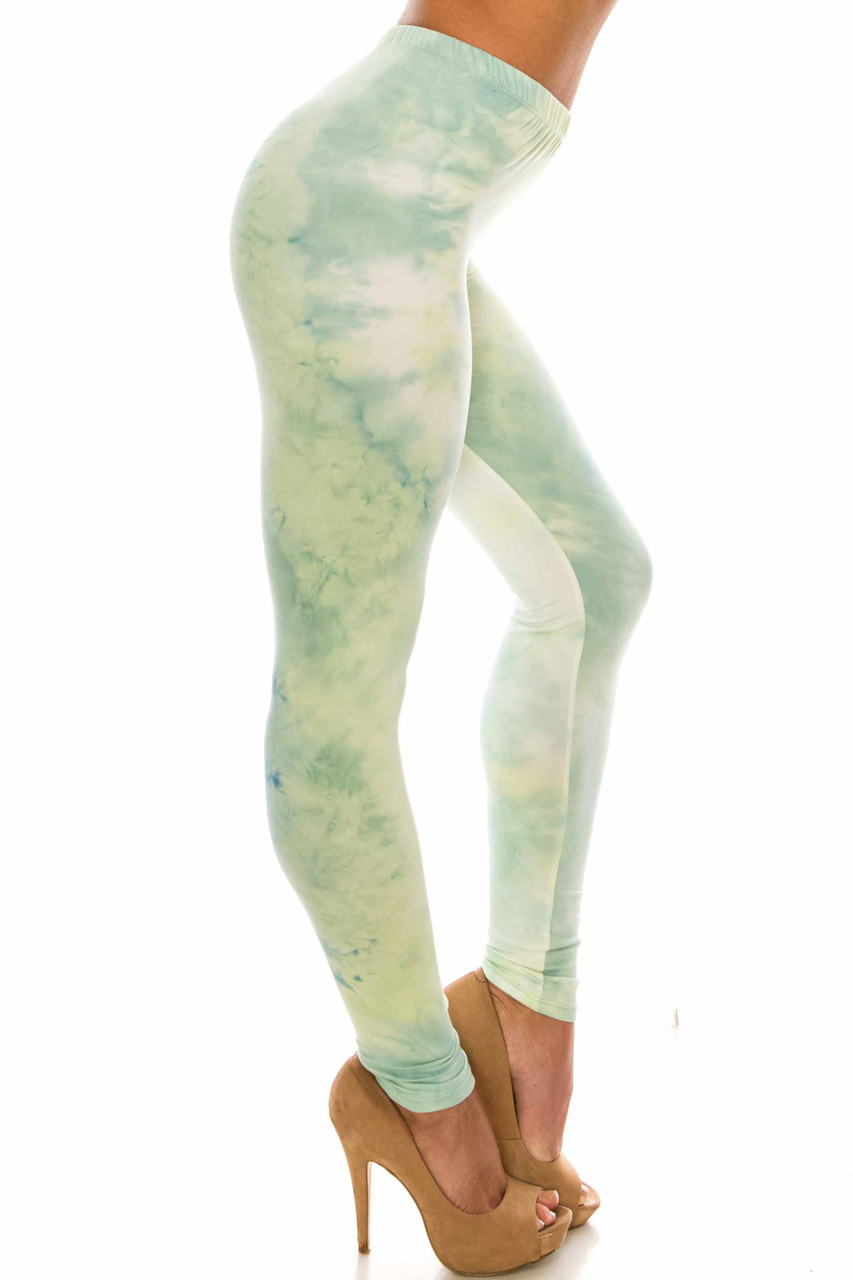 Right side of Buttery Soft Mint Tie Dye Extra Plus Size Leggings